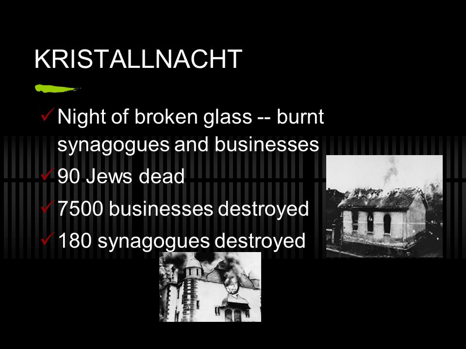 KRISTALLNACHT Night of broken glass -- burnt synagogues and businesses 90 Jews dead 7500 businesses destroyed 180 synagogues destroyed