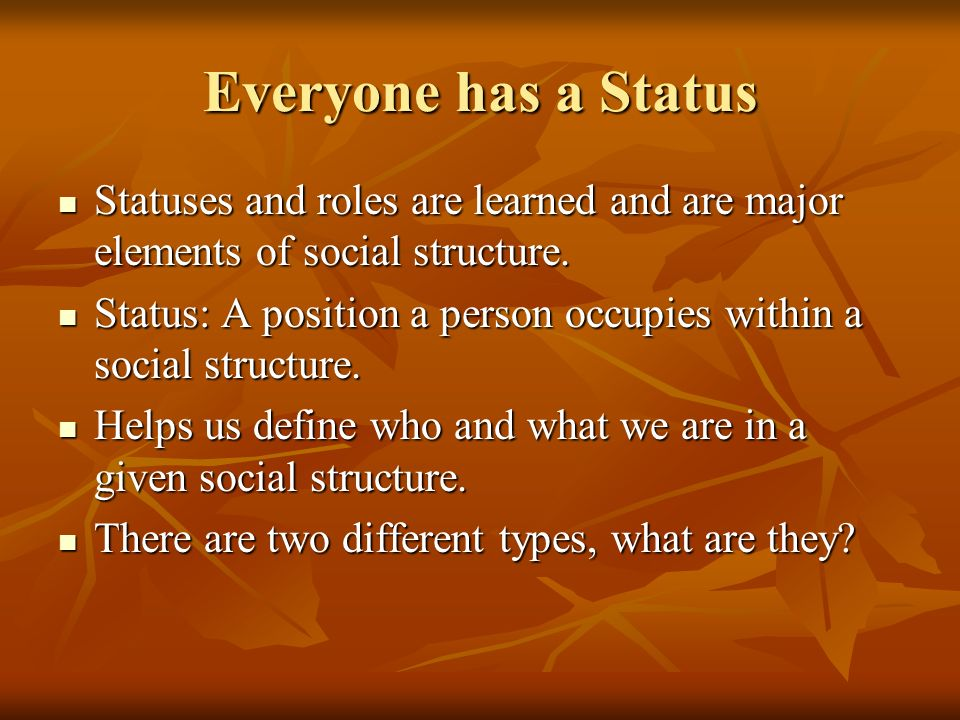 Everyone has a Status Statuses and roles are learned and are major elements of social structure.