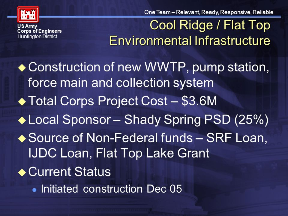 One Team – Relevant, Ready, Responsive, Reliable US Army Corps of Engineers Huntington District Cool Ridge / Flat Top Environmental Infrastructure Construction of new WWTP, pump station, force main and collection system Total Corps Project Cost – $3.6M Local Sponsor – Shady Spring PSD (25%) Source of Non-Federal funds – SRF Loan, IJDC Loan, Flat Top Lake Grant Current Status Initiated construction Dec 05