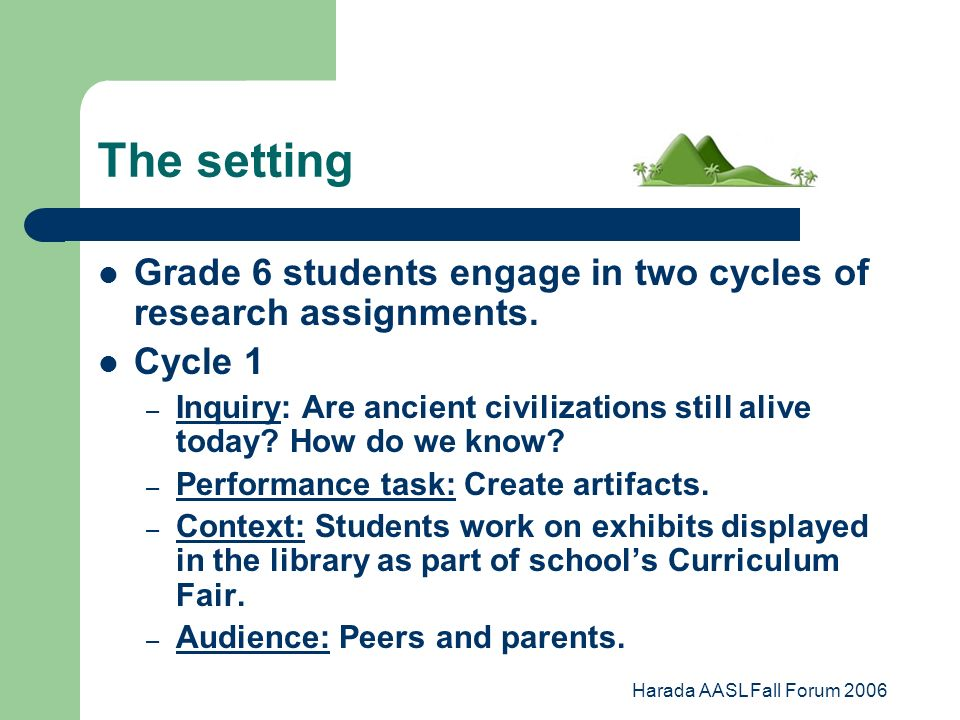 Harada AASL Fall Forum 2006 The setting Grade 6 students engage in two cycles of research assignments.