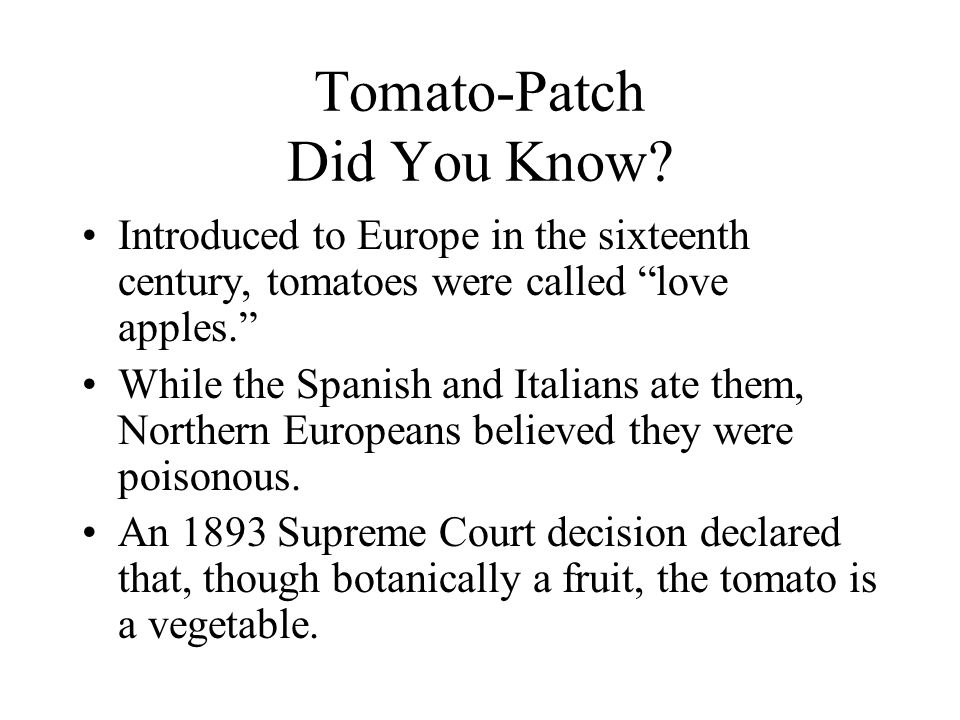 Tomato-Patch Did You Know.