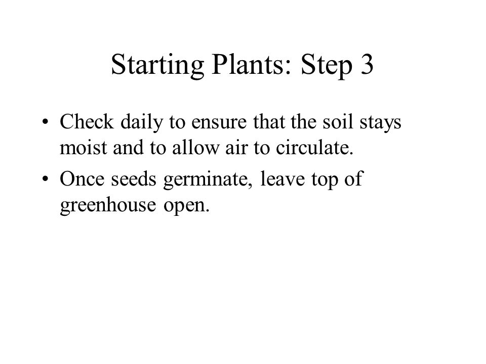 Starting Plants: Step 3 Check daily to ensure that the soil stays moist and to allow air to circulate.