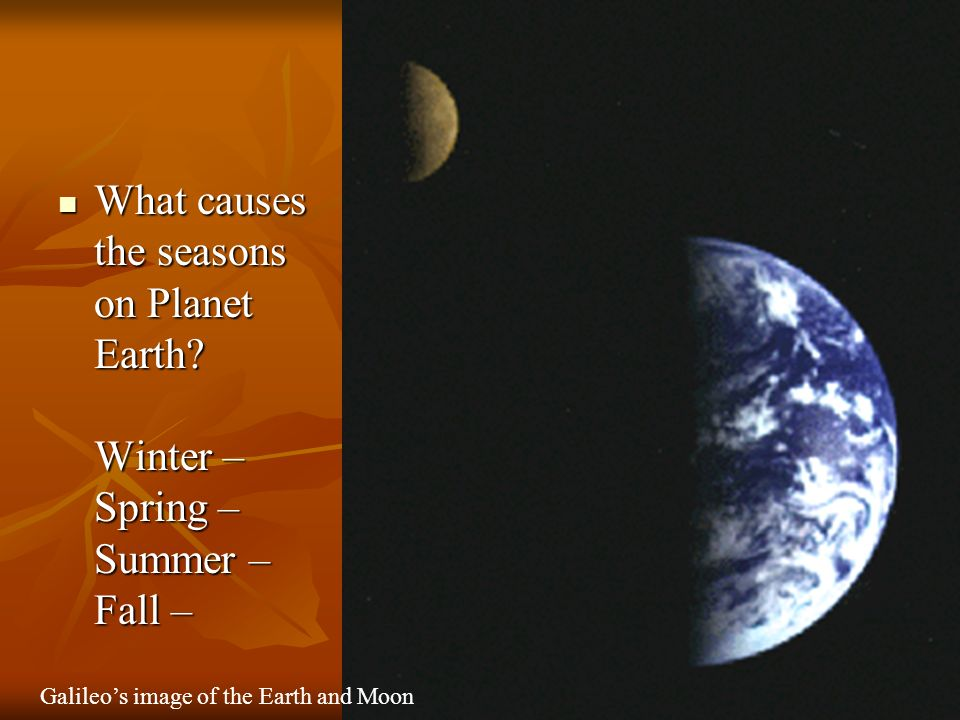What causes the seasons on Planet Earth.