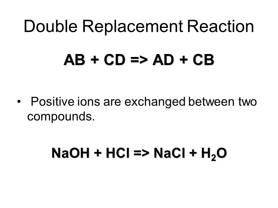 Double Replacement Reaction AB + CD => AD + CB Positive ions are exchanged between two compounds.