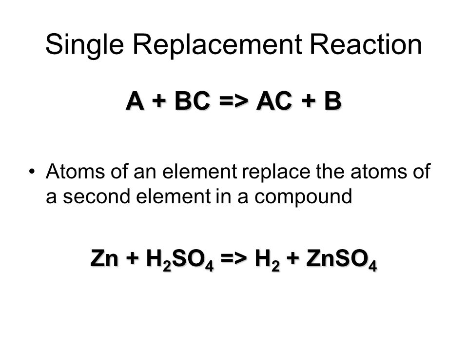 Single Replacement Reaction A + BC => AC + B Atoms of an element replace the atoms of a second element in a compound Zn + H 2 SO 4 => H 2 + ZnSO 4