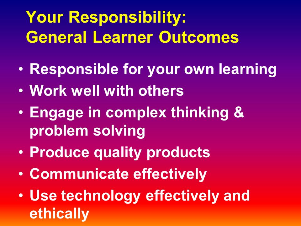 Your Responsibility: General Learner Outcomes Responsible for your own learning Work well with others Engage in complex thinking & problem solving Produce quality products Communicate effectively Use technology effectively and ethically