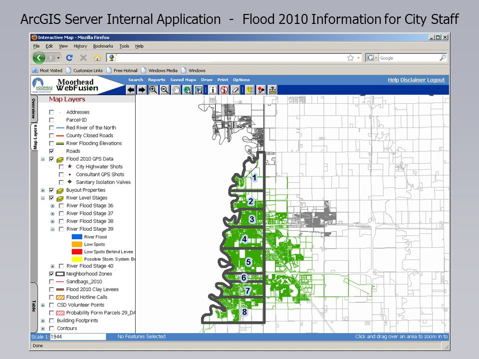ArcGIS Server Internal Application - Flood 2010 Information for City Staff