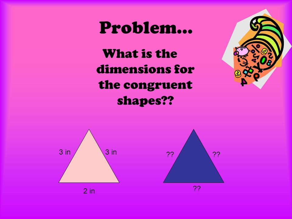 Problem… What is the dimensions for the congruent shapes 3 in 2 in 3 in