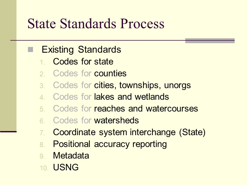 State Standards Process Existing Standards 1. Codes for state 2.