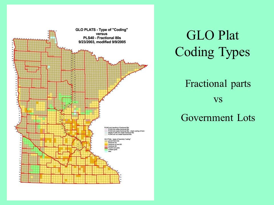 GLO Plat Coding Types Fractional parts vs Government Lots
