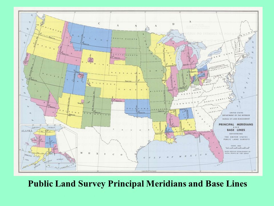 Public Land Survey Principal Meridians and Base Lines Based on 32 Initial points and 32 Baselines