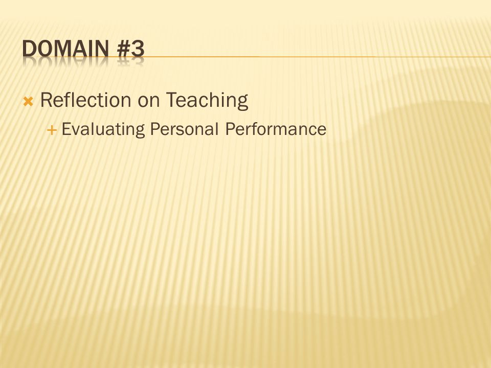 Reflection on Teaching Evaluating Personal Performance