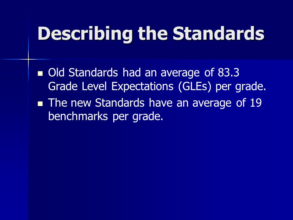 Describing the Standards Old Standards had an average of 83.3 Grade Level Expectations (GLEs) per grade.