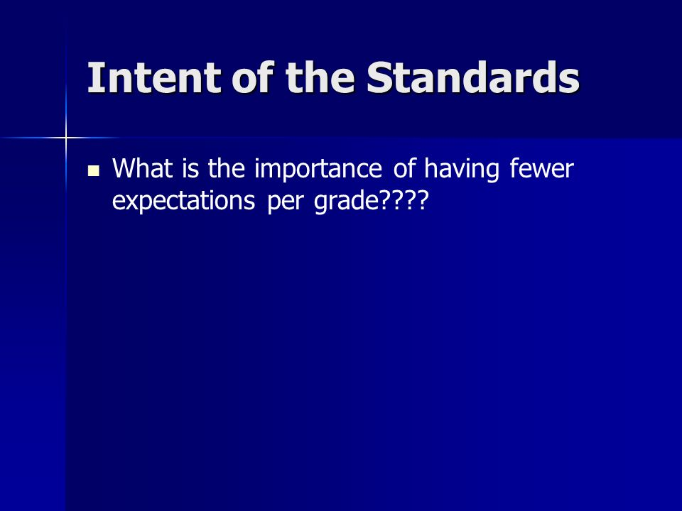 Intent of the Standards What is the importance of having fewer expectations per grade