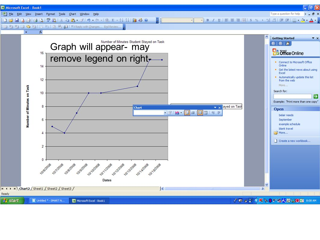 Graph will appear- may remove legend on right-