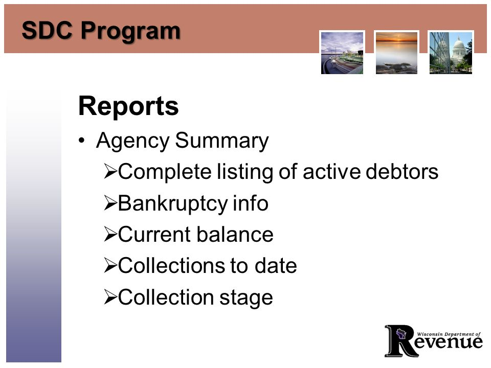 SDC Program Reports Agency Summary Complete listing of active debtors Bankruptcy info Current balance Collections to date Collection stage