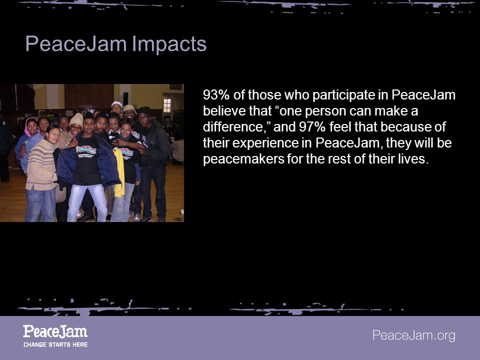 PeaceJam Impacts 93% of those who participate in PeaceJam believe that one person can make a difference, and 97% feel that because of their experience in PeaceJam, they will be peacemakers for the rest of their lives.