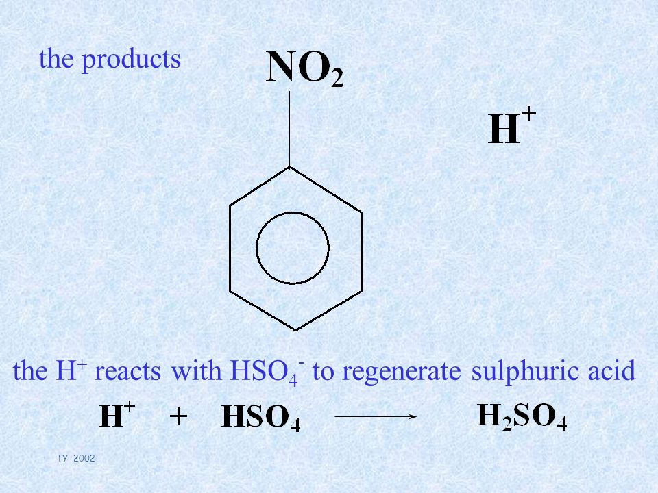 TY 2002 the products the H + reacts with HSO 4 - to regenerate sulphuric acid
