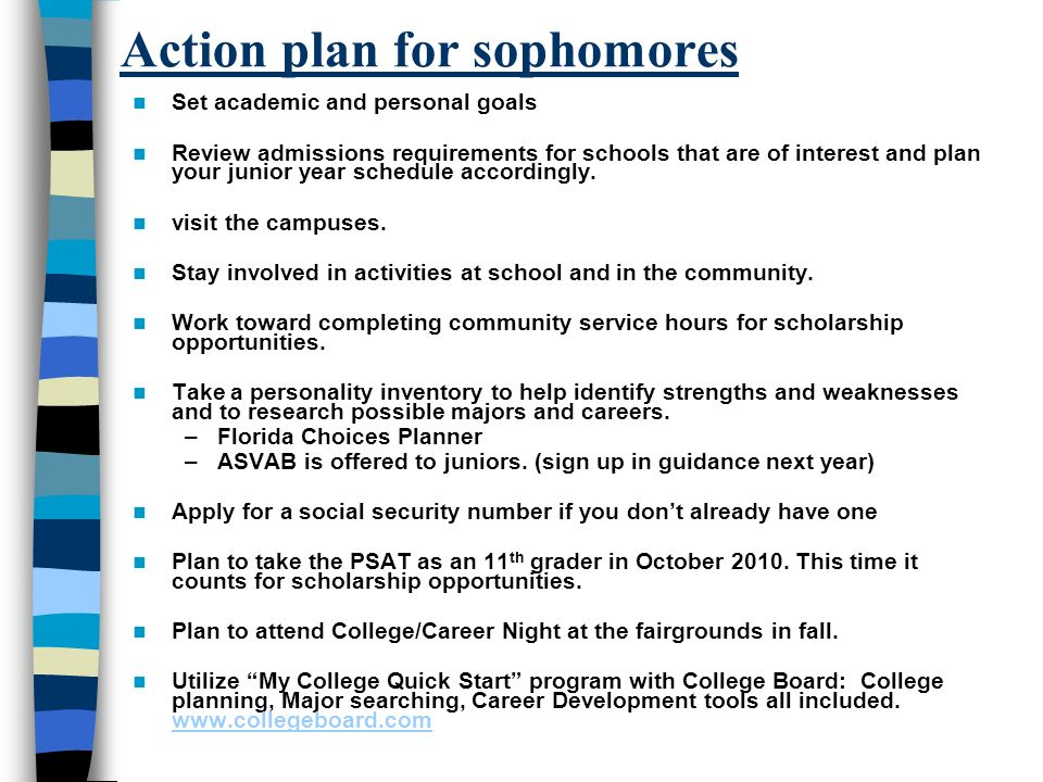Action plan for sophomores Set academic and personal goals Review admissions requirements for schools that are of interest and plan your junior year schedule accordingly.
