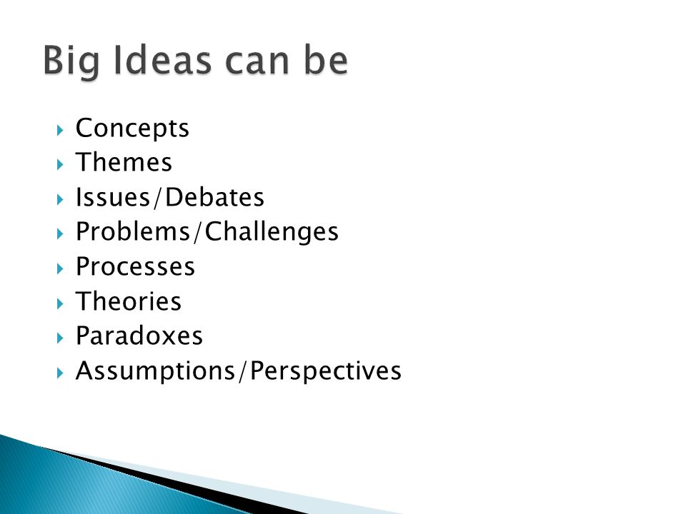 Concepts Themes Issues/Debates Problems/Challenges Processes Theories Paradoxes Assumptions/Perspectives