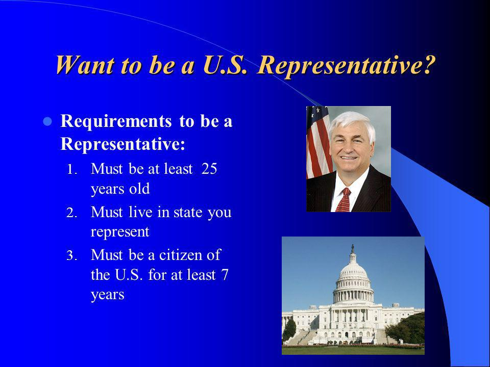 Want to be a U.S. Representative. Requirements to be a Representative: 1.