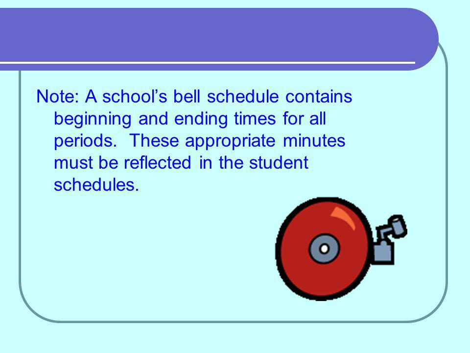 Note: A schools bell schedule contains beginning and ending times for all periods.