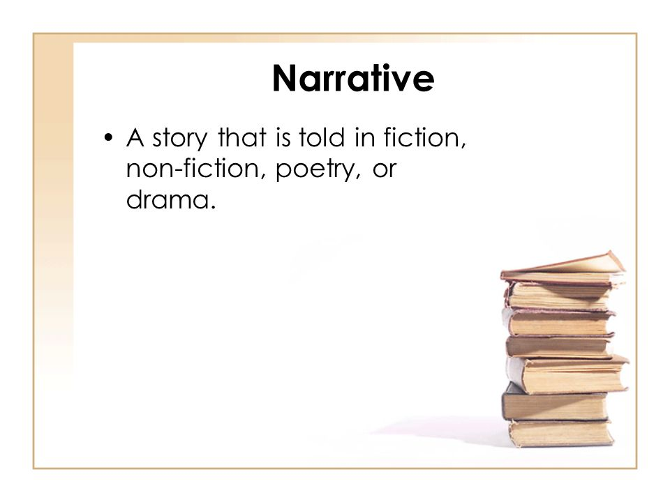 Narrative A story that is told in fiction, non-fiction, poetry, or drama.