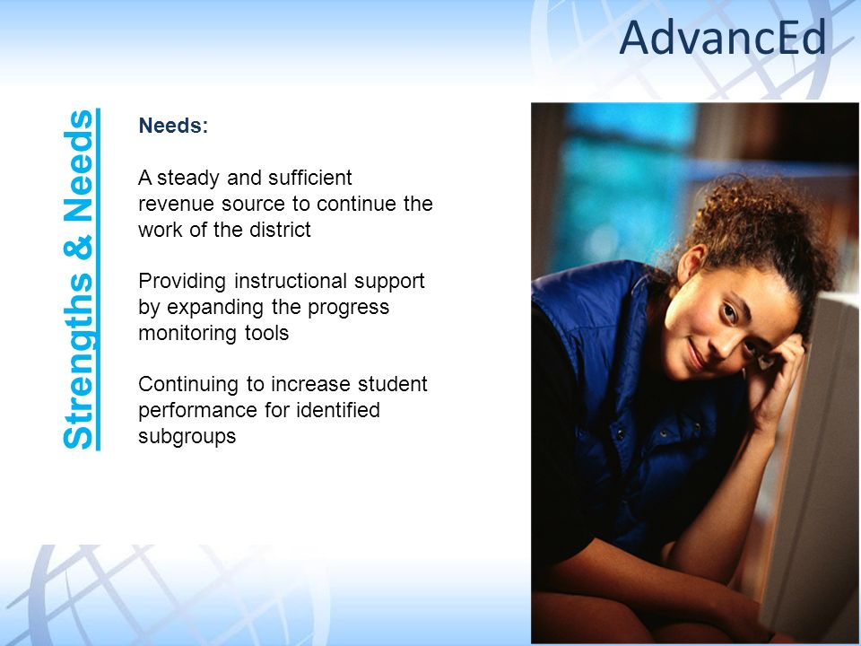 Needs: A steady and sufficient revenue source to continue the work of the district Providing instructional support by expanding the progress monitoring tools Continuing to increase student performance for identified subgroups Strengths & Needs AdvancEd