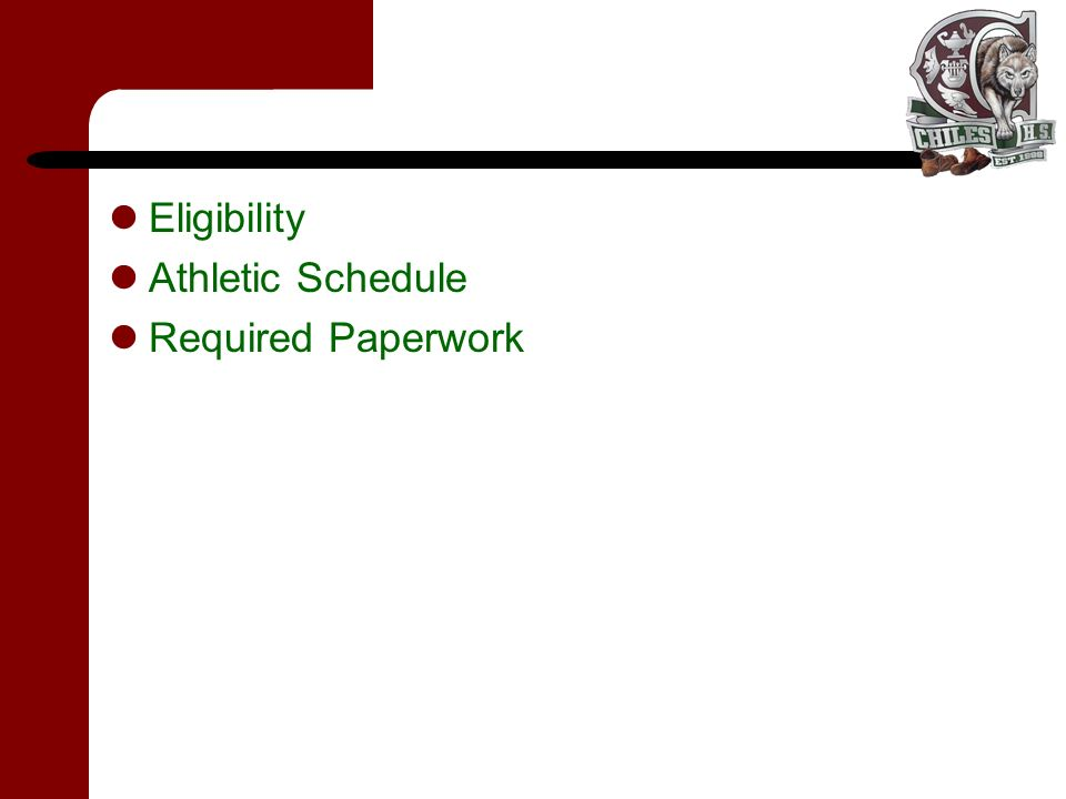 Eligibility Athletic Schedule Required Paperwork