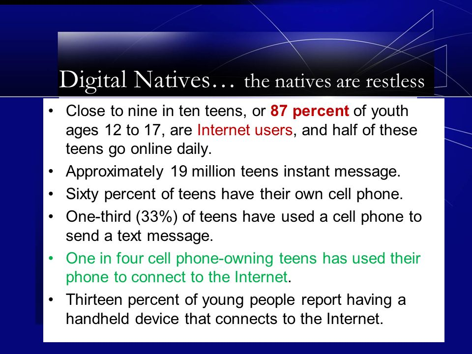 Close to nine in ten teens, or 87 percent of youth ages 12 to 17, are Internet users, and half of these teens go online daily.