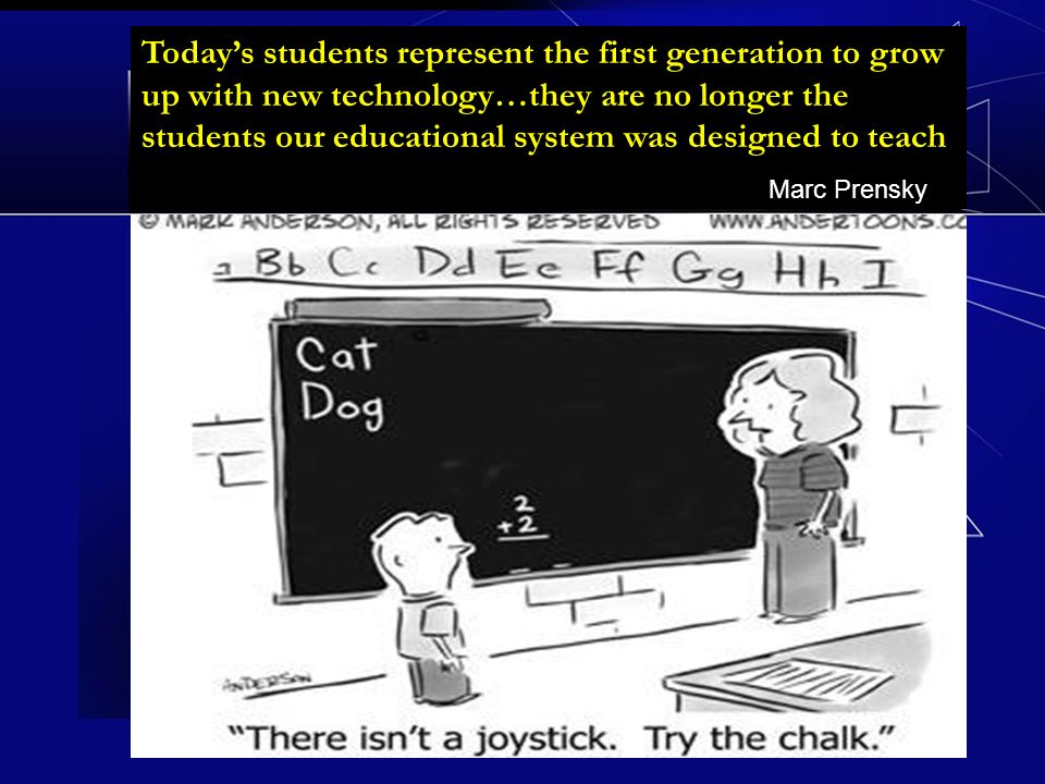 Todays students represent the first generation to grow up with new technology…they are no longer the students our educational system was designed to teach Marc Prensky