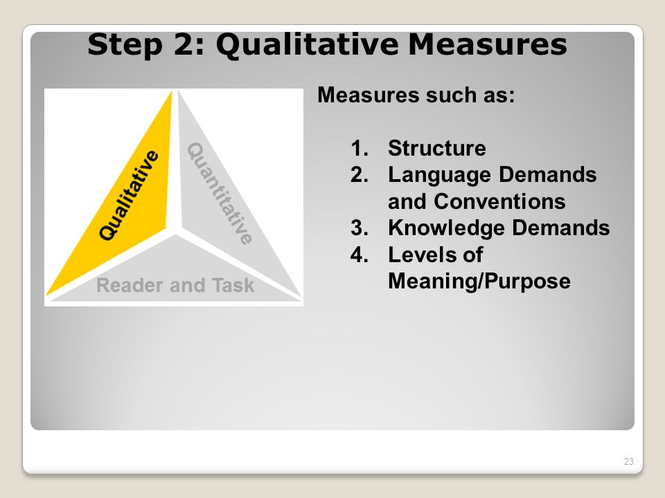 Step 2: Qualitative Measures Measures such as: 1.Structure 2.Language Demands and Conventions 3.Knowledge Demands 4.Levels of Meaning/Purpose 23