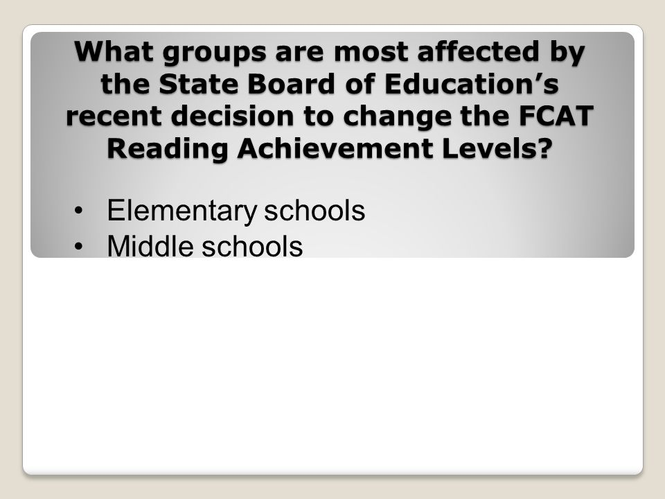 What groups are most affected by the State Board of Educations recent decision to change the FCAT Reading Achievement Levels.