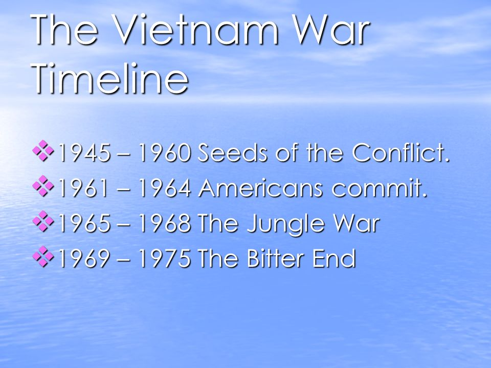 The Vietnam War Timeline 1945 – 1960 Seeds of the Conflict.