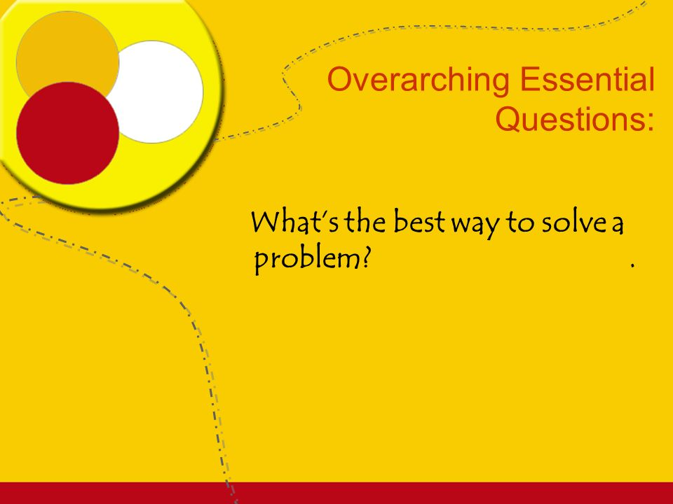 Enduring Understanding: Students will know that there is a logical sequence of steps to solving problems..