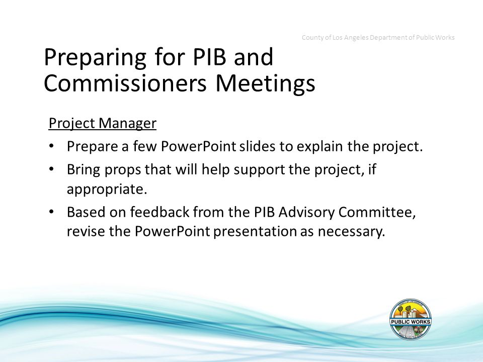 Project Manager Prepare a few PowerPoint slides to explain the project.