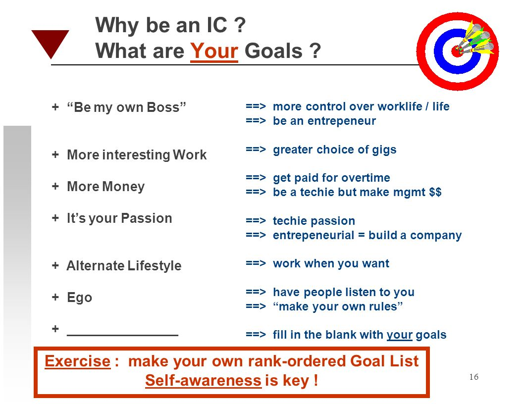 16 Why be an IC . What are Your Goals .