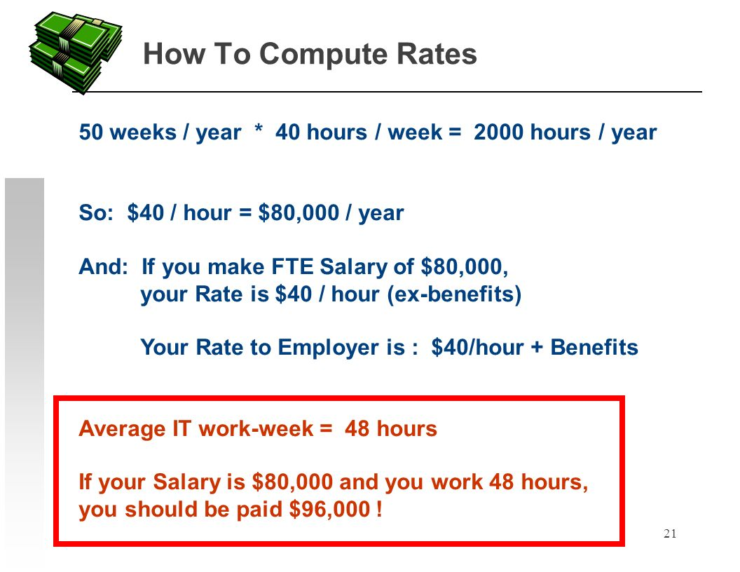 21 How To Compute Rates 50 weeks / year * 40 hours / week = 2000 hours / year So: $40 / hour = $80,000 / year And: If you make FTE Salary of $80,000, your Rate is $40 / hour (ex-benefits) Your Rate to Employer is : $40/hour + Benefits Average IT work-week = 48 hours If your Salary is $80,000 and you work 48 hours, you should be paid $96,000 !