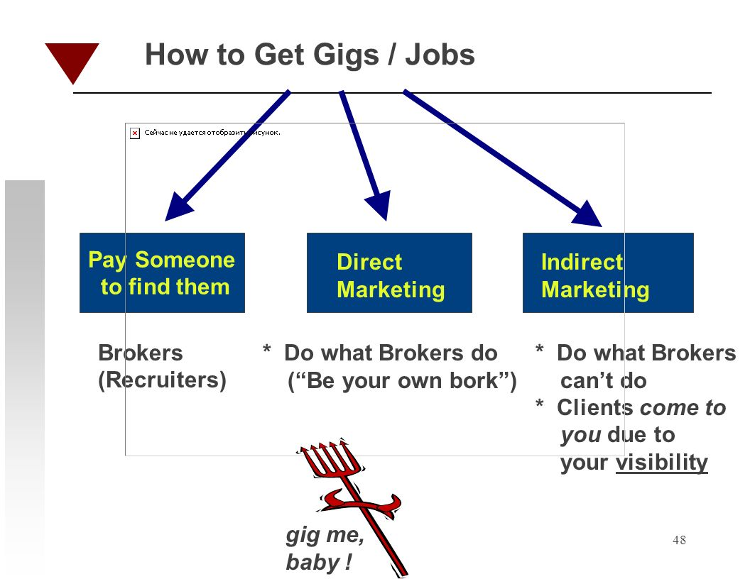 48 How to Get Gigs / Jobs Pay Someone to find them Direct Marketing Indirect Marketing Brokers (Recruiters) * Do what Brokers do (Be your own bork) * Do what Brokers cant do * Clients come to you due to your visibility gig me, baby !