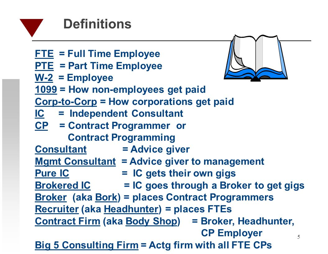 5 Definitions FTE = Full Time Employee PTE = Part Time Employee W-2 = Employee 1099 = How non-employees get paid Corp-to-Corp = How corporations get paid IC = Independent Consultant CP = Contract Programmer or Contract Programming Consultant = Advice giver Mgmt Consultant = Advice giver to management Pure IC = IC gets their own gigs Brokered IC = IC goes through a Broker to get gigs Broker (aka Bork) = places Contract Programmers Recruiter (aka Headhunter) = places FTEs Contract Firm (aka Body Shop) = Broker, Headhunter, CP Employer Big 5 Consulting Firm = Actg firm with all FTE CPs
