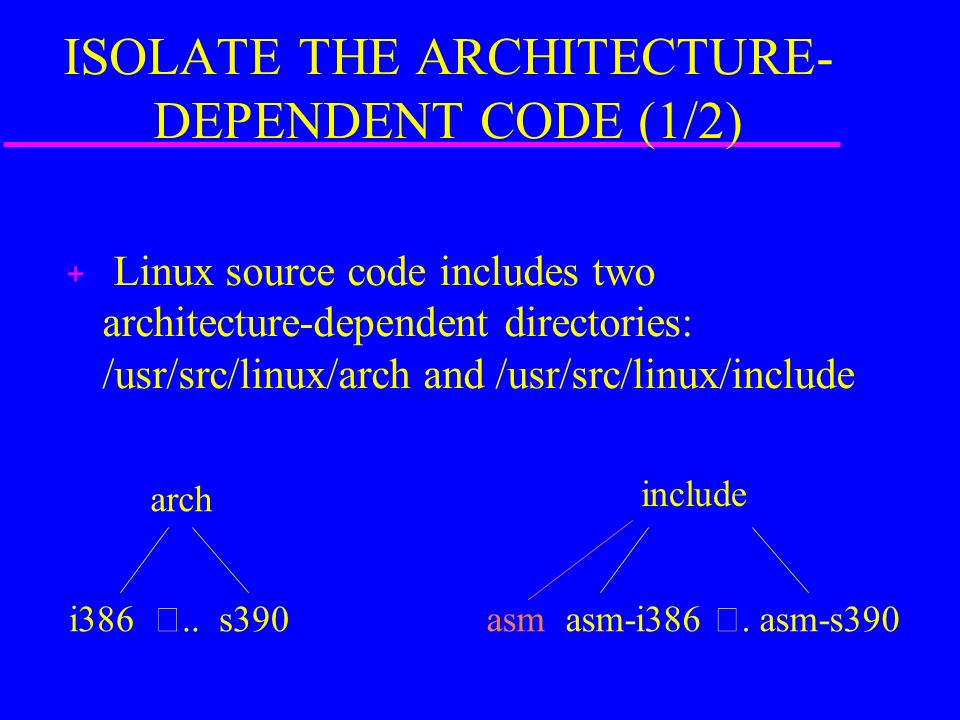 ISOLATE THE ARCHITECTURE- DEPENDENT CODE (1/2) + Linux source code includes two architecture-dependent directories: /usr/src/linux/arch and /usr/src/linux/include arch i386 ..