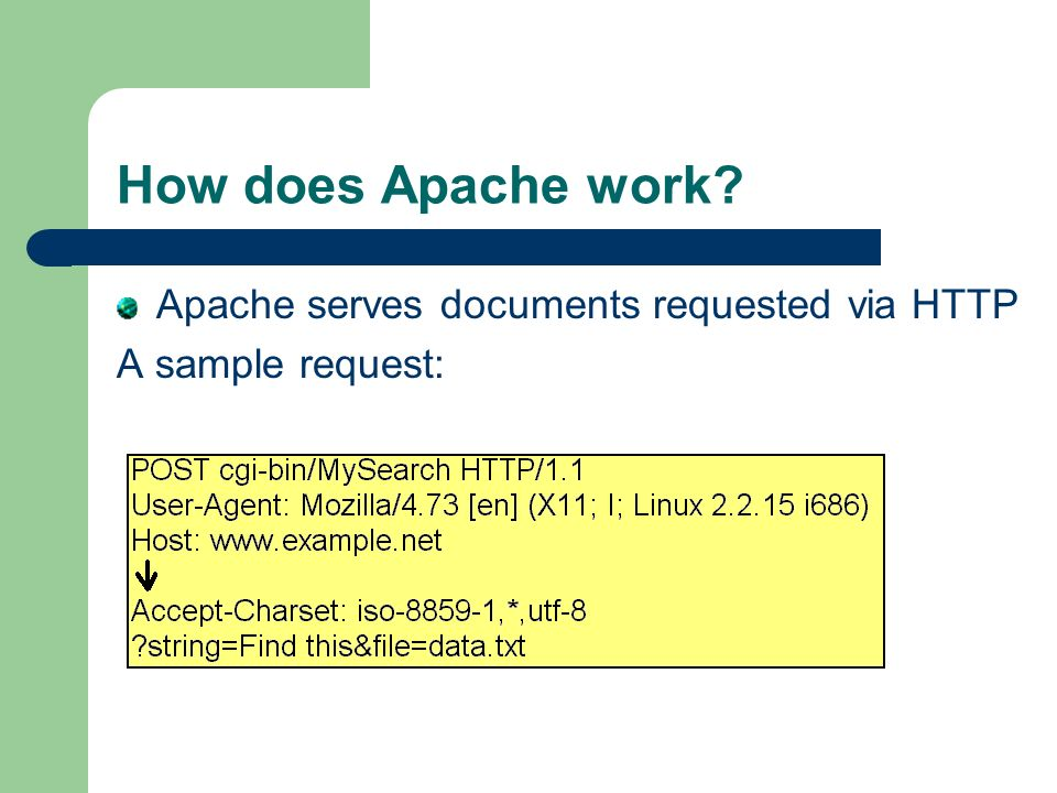 How does Apache work Apache serves documents requested via HTTP A sample request: