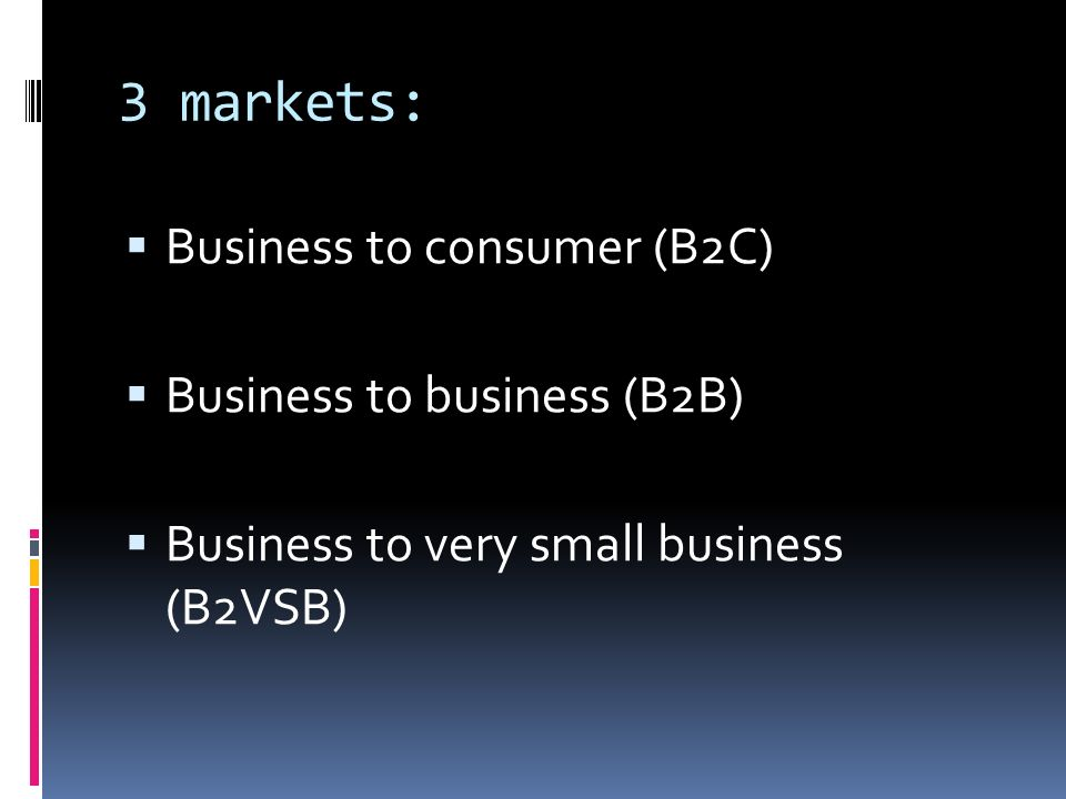 3 markets: Business to consumer (B2C) Business to business (B2B) Business to very small business (B2VSB)