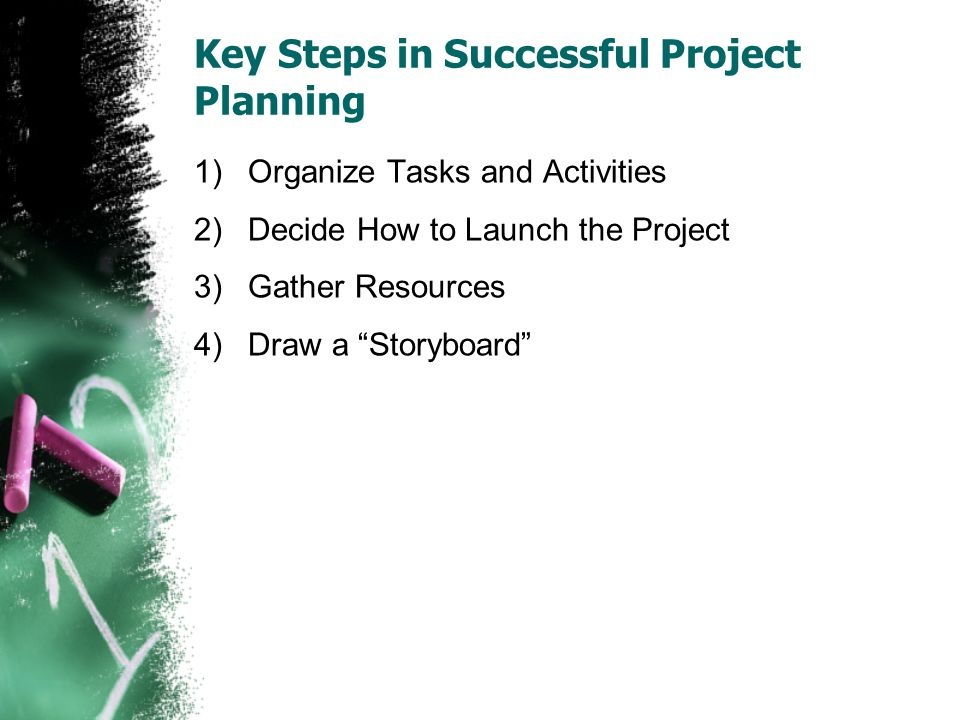 Key Steps in Successful Project Planning 1)Organize Tasks and Activities 2)Decide How to Launch the Project 3)Gather Resources 4)Draw a Storyboard