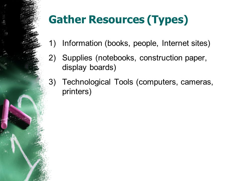 Gather Resources (Types) 1)Information (books, people, Internet sites) 2)Supplies (notebooks, construction paper, display boards) 3)Technological Tools (computers, cameras, printers)