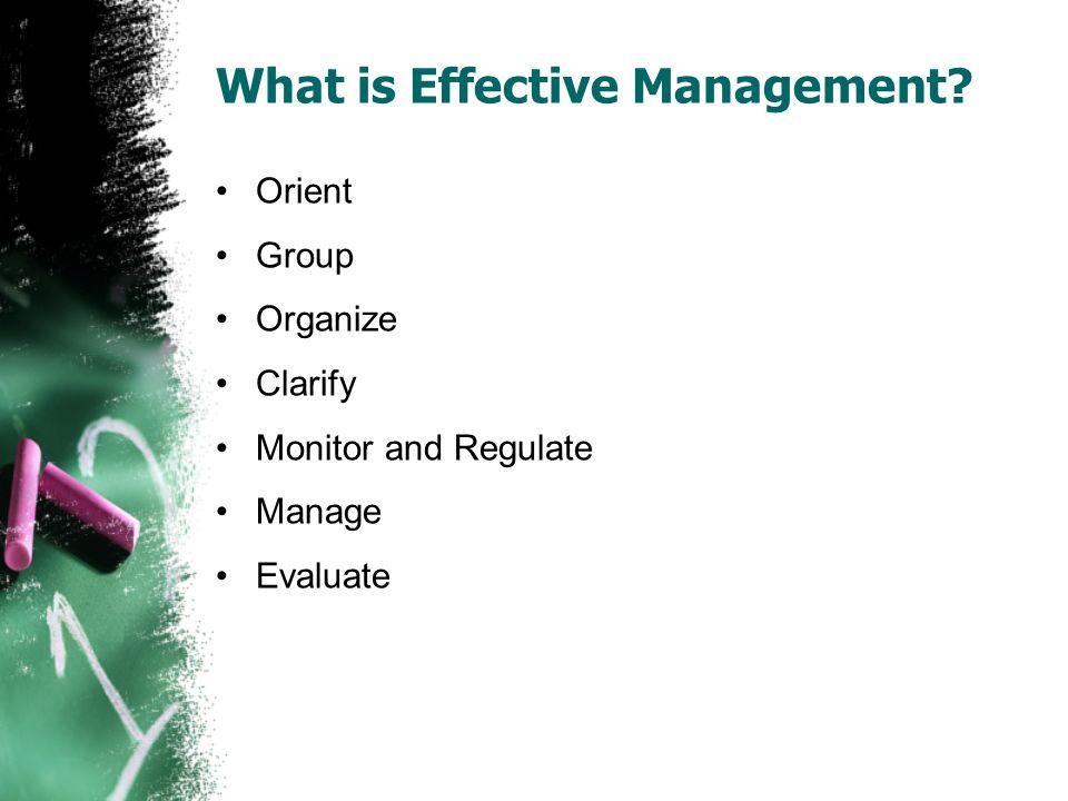 What is Effective Management Orient Group Organize Clarify Monitor and Regulate Manage Evaluate