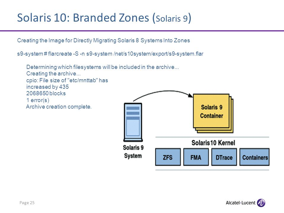 Solaris 10: Branded Zones ( Solaris 9 ) Page 25 Creating the Image for Directly Migrating Solaris 8 Systems Into Zones s9-system # flarcreate -S -n s9-system /net/s10system/export/s9-system.flar Determining which filesystems will be included in the archive...