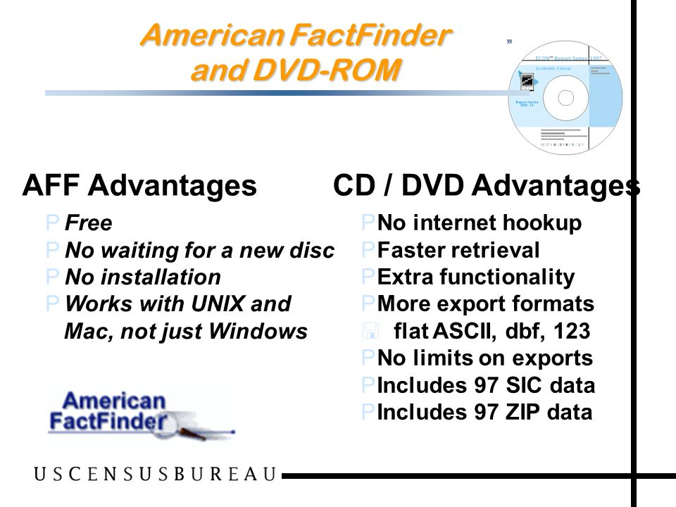 109 American FactFinder and DVD-ROM PFree PNo waiting for a new disc PNo installation PWorks with UNIX and Mac, not just Windows PNo internet hookup PFaster retrieval PExtra functionality PMore export formats < flat ASCII, dbf, 123 PNo limits on exports PIncludes 97 SIC data PIncludes 97 ZIP data AFF Advantages CD / DVD Advantages