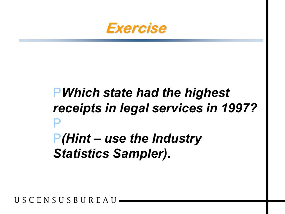 141 Exercise P Which state had the highest receipts in legal services in 1997.