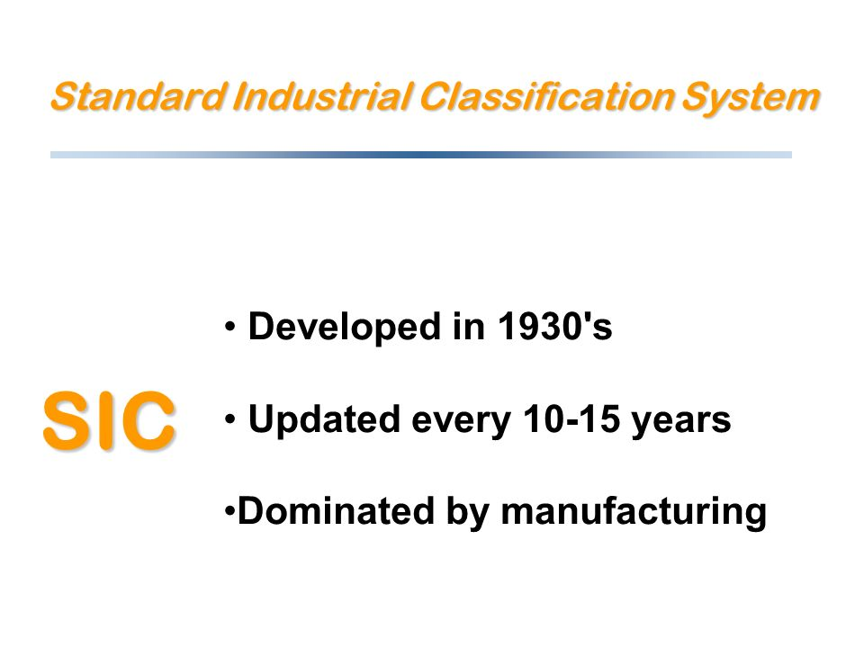 Standard Industrial Classification System Developed in 1930 s Updated every 10-15 years Dominated by manufacturing SIC